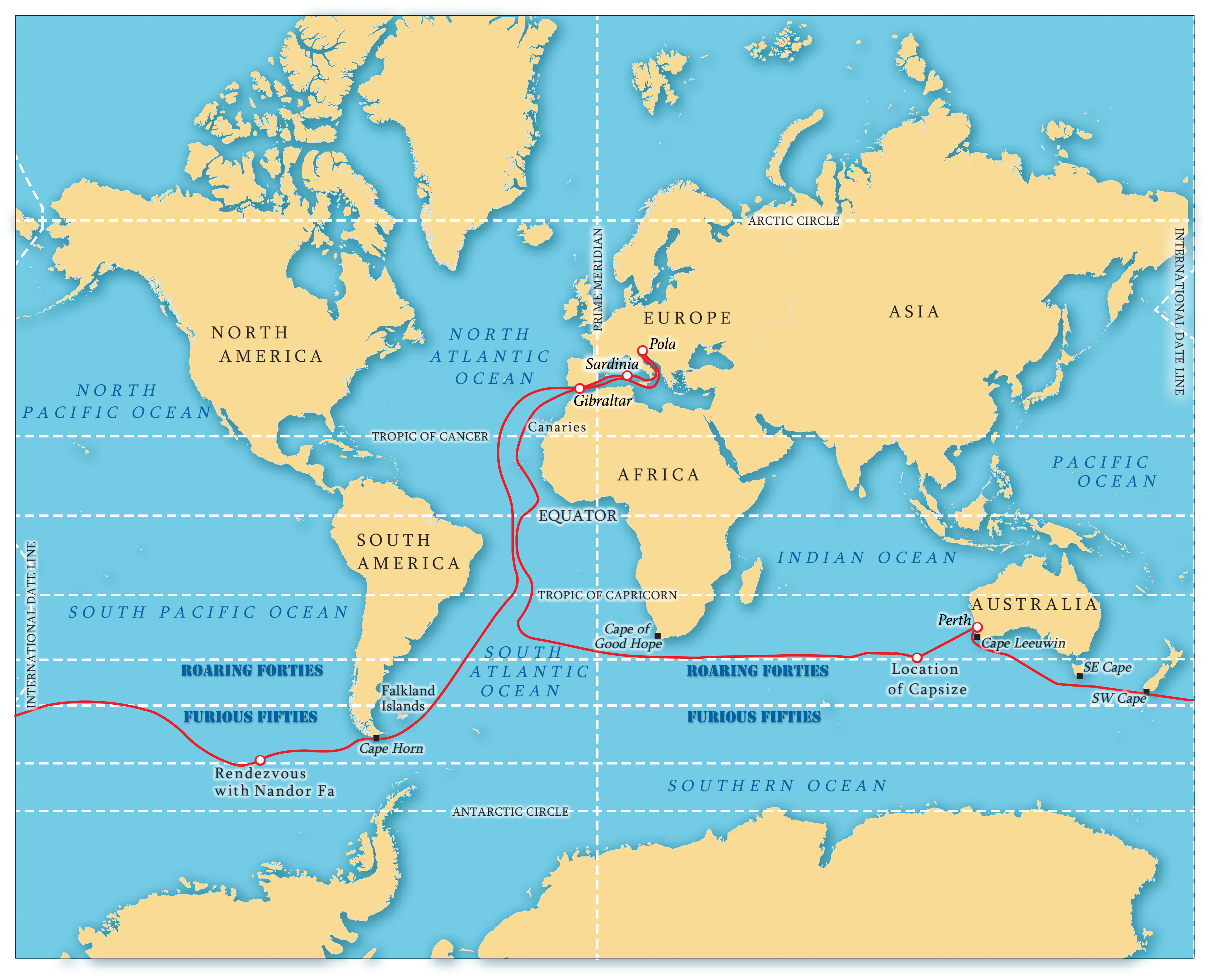 Istvan Kopar Circumnavigation Route World Map