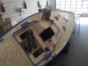 Masking the deck as a prep for the paint job