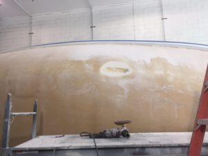 Foam of stringer exposed on starboard side