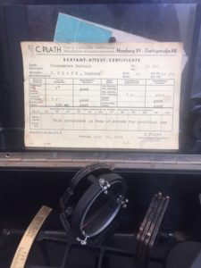 Plath sextant certificate