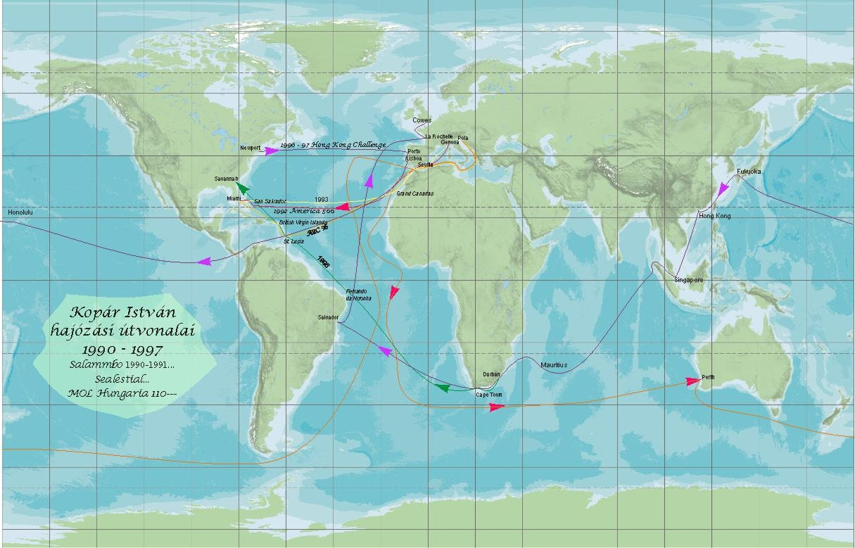 Istvan Kopar's offshore sailing world map